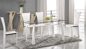 High Class Rectangular Clear Glass Top Dining Table And Chair Sets