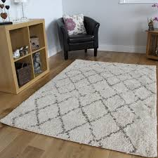 Shaggy Rugs For Living Room Cream Moroccan Trellis Shaggy Rug Soft Non Shed Thick Carpet Mats