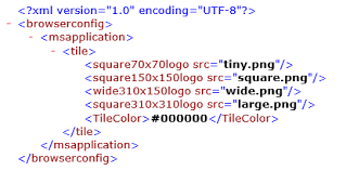 xml file for pinned sites on windows phone ie