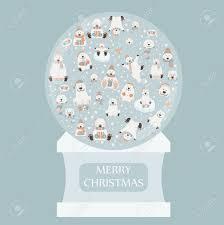 Snow Globe Design Cute Polar Bear Sticker Set Snow Globe Design Elements For
