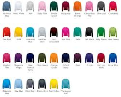 Hoodie Colour Chart Set In Sleeve Crew Neck Awd Sweatshirts In 30 Colours Jh030