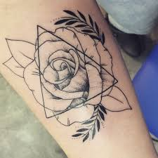 Forearm Rose And Triangle Tattoos Ink Piercings Triangle