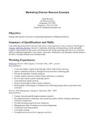 Resume Template Intern Objective Marketing Manager Goal Examples