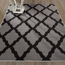 ottomanson glamour collection contemporary moroccan trellis design kids lattice area rug non slip kitchen and bathroom mat rug 5 0 x 6 6 dark grey
