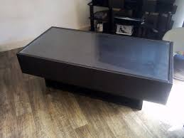ikea ramvik black brown glass top coffee table with 2 drawers