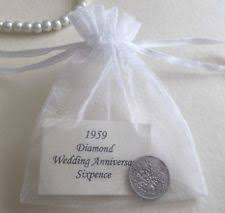 1959 sixpence in organza bag diamond 60th wedding anniversary year gift card