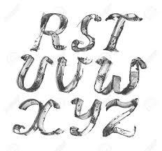 アルファベット R Zフリーハンドスタイリッシュなラスターのインクします白地では分離された黒の染
