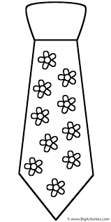 Small Picture Neck Tie with Flowers Coloring Page Clothing