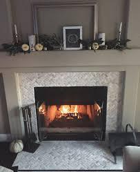thumb cream herringbone stone mosaic fireplace surround