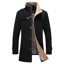 Grefer Mens Military Peacoat Casual Single Breasted Trench