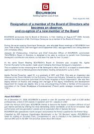 Resignation From Board Press Release Resignation Of A Member Of The Board Of Directors