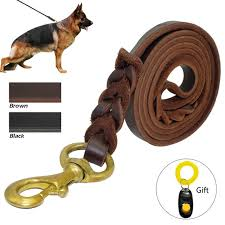 braided leather dog leash pet k9 walking training leash lead for um large dogs german shepherd
