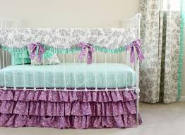 image of purple and mint baby bedding
