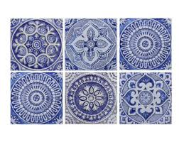 Blue And White Decorative Tiles Ceramic tiles Etsy 100