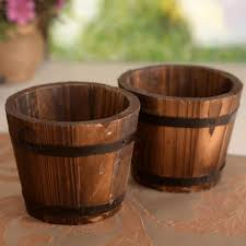 2018 new primaries small wooden ornamental rustic small barrel flower pot flower basket flower bowyer for wedding home decoration from chenyuanfei