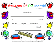 Student Of The Month Certificate Templates Printable Student Of The Month Awards School Certificates
