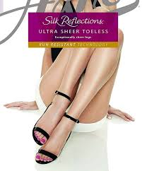 Hanes Hosiery Color Chart Hanes Silk Reflections Ultra Sheer Toeless Control Top Pantyhose