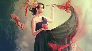 1920x1080 Girl Jewel Brush Paint Birds ...