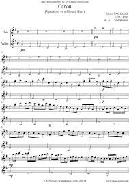 pachelbel canon violin sheet music canon flute and violin sheet music by johann pachelbel flute