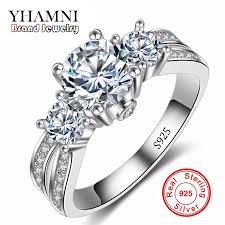 Fine Jewelry Ring Silver <b>Real 925 Sterling Silver</b> Wedding Rings ...