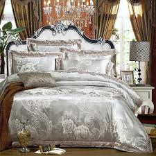 silver white color stain jacquard lace bedding set queen king size double duvet cover cotton bed sheet set pillow shams pink duvet comforters and bedding