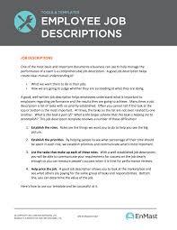 It Job Description Employee Job Descriptions Tool And Template 9