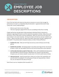 Job Description Template Word Employee Job Descriptions Tool And Template 11