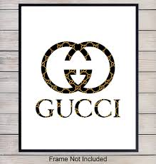 Designer Wall Art Gucci Logo Designer Wall Art Home Decor Poster Print Unique Room Decorations For Dorm Office Bedroom Gift For Wife Woman Women Girl Teens