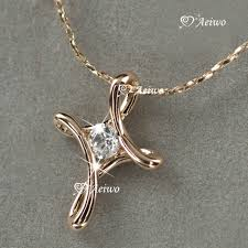18k rose gold gf made with swarovski crystal cross pendant necklace