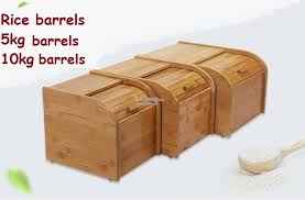 solid bamboo wood rice bucket grains storage box rice barrels