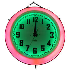 large neon wall clocks large art electric neon clock for double sided wall clock hobby lobby