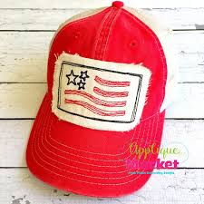Machine Embroidery Designs For Hats Flag Bean Stitch Hat Patch Hat Patches Applique Market