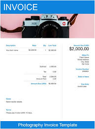 Invoice Template For Photographers Photography Invoice Template Free Download Send In Minutes