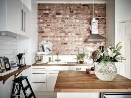 grey brick wallpaper kitchen accent