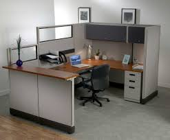 desk small office space. Decoration Ideas Extraordinary Home Office Interior Design For Desk Small Space Classy Brown Wooden L Shaped Computer With Grey Fabric Swivel Chair In 7 D