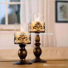12 5 inch medium vintage iron candle holder latern w glass shade european black white wedding centerpiece carved flower style small candles in glass