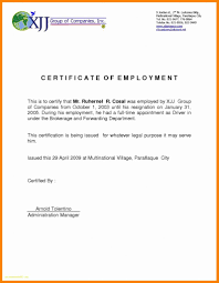 Sample Certification Letter Of Employment Best Of 9 Certificate Of