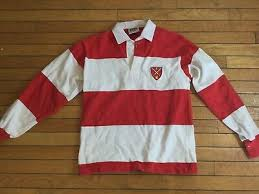 barbarian rugby wear bright red white stripe rugby shirt men s size small