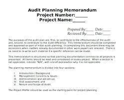 Sample Audit Planning Memo Template Free Download Internal