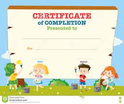 Certificate Template With Happy Children Stock Vector