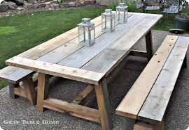 Image Rustic Pinterest Reclaimed Wood Outdoor Dining Table And Benches Diy Ideas