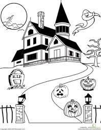 Small Picture Haunted House Coloring Worksheet Educationcom