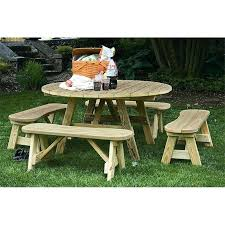 staining picnic table round pressure treated pine picnic table with 4 curved detached benches unfinished staining