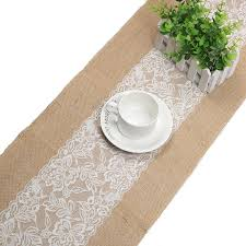2pcs vintage jute burlap table runner with lace 12 x70 12 x108 tablecloth for wedding party bridal baby shower table decor