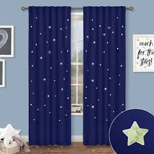 Window Curtain Design Images Nicetown Blue Curtains For Kids Nursery Naptime Essential Nursery Draperies Creative Window Drapes With Star Cut Out Design For Cosmic Themed Kids