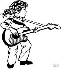 Small Picture Girl Plays Guitar And Sings coloring page Free Printable