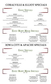 specials menu vine tavern eatery specials vine tavern eatery
