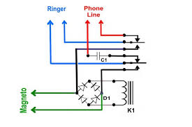 a simple automatic ringer control for antique magneto wall telephones crank telephone wiring diagrams when the magneto isn't being cranked, the ringer is connected through c1 and the normally closed contacts of k1 to the phone line told you it was simple Crank Telephone Wiring Diagram