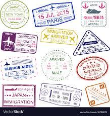 Stamp Design Visa Stamps Bright Design Collection