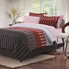 brown grey ombre stripe red 8 piece king bed in bag set